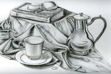Drawn still life kettle And into table Art Mrs