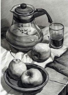 Drawn still life kettle ВКонтакте Pinteres… … drawing Academic
