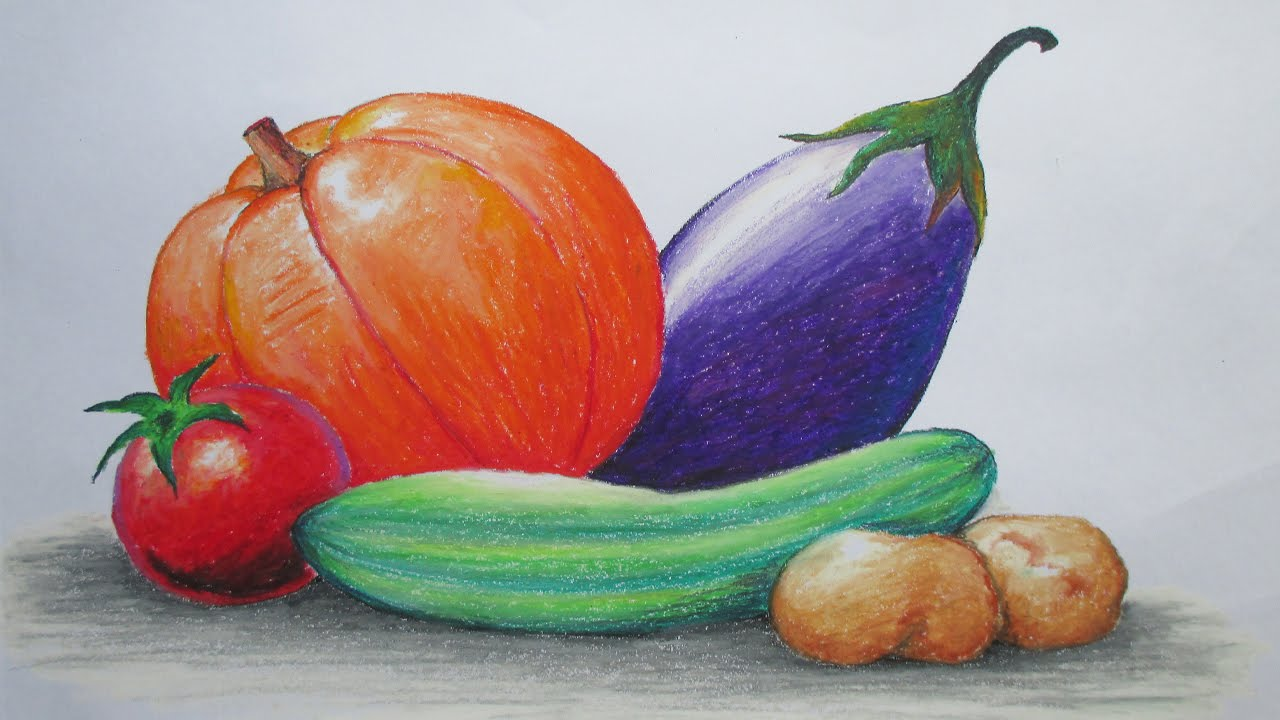 Drawn still life oil pastel Draw to Draw Vegetables Oil
