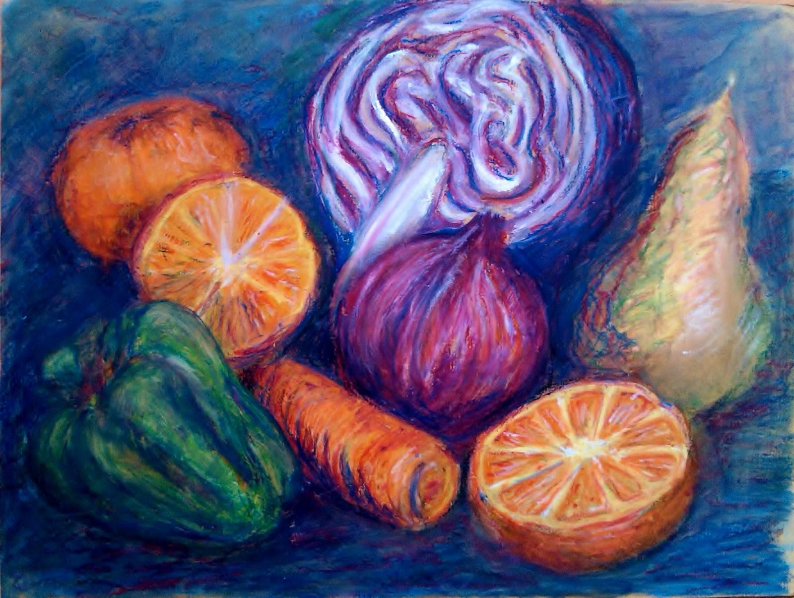 Drawn still life oil pastel Fruit oil oil Pinterest Pastels