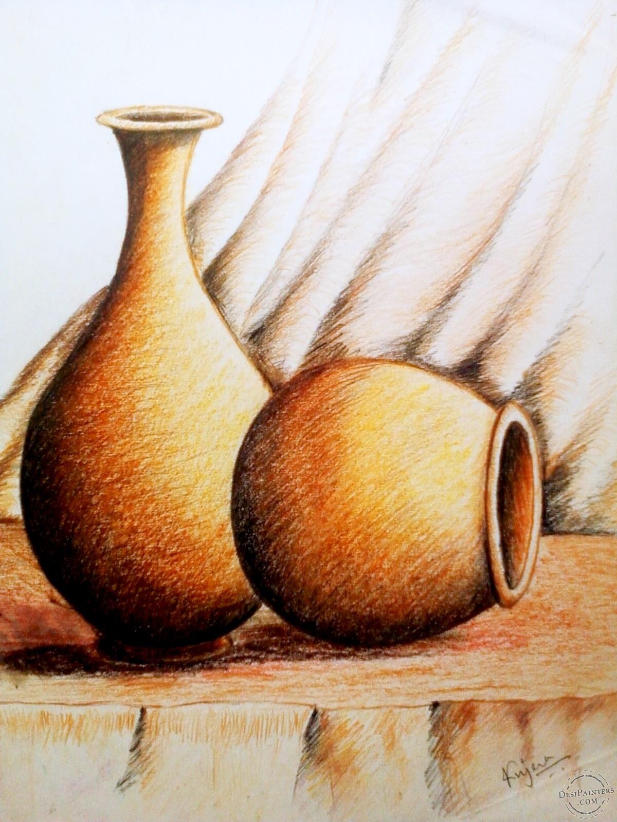 Drawn still life oil pastel The Life Sketch Jena Art)