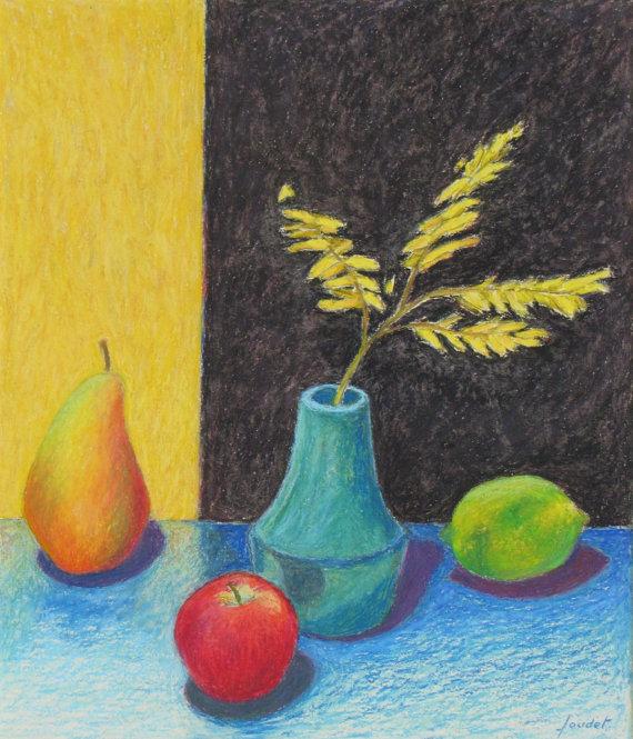 Drawn still life oil pastel Item? Oil Like Apple Lime