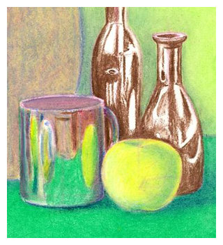 Drawn still life oil pastel Completing Colors Step Oil Pastels