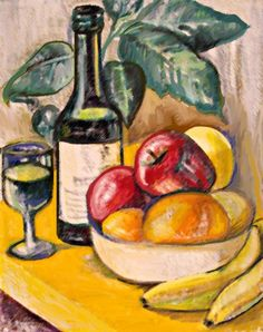 Drawn still life oil pastel Try drawing Projects fruit bowl