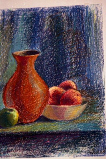 Drawn still life oil pastel Still relti oil relti on