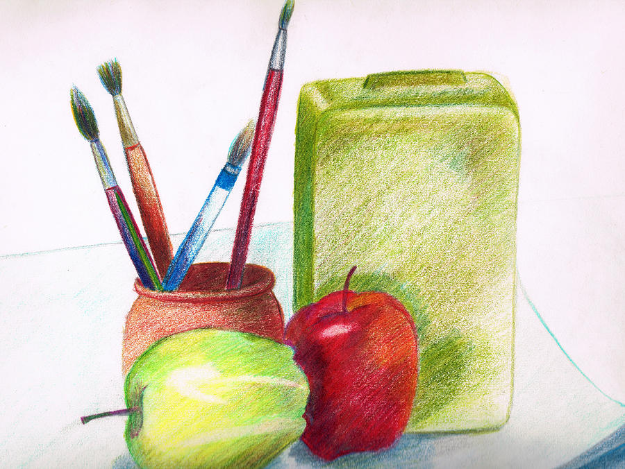 Drawn still life pencil color GDezfuli Still 2 GDezfuli Zara
