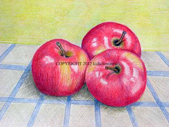 Drawn still life pencil color Art apples life life by