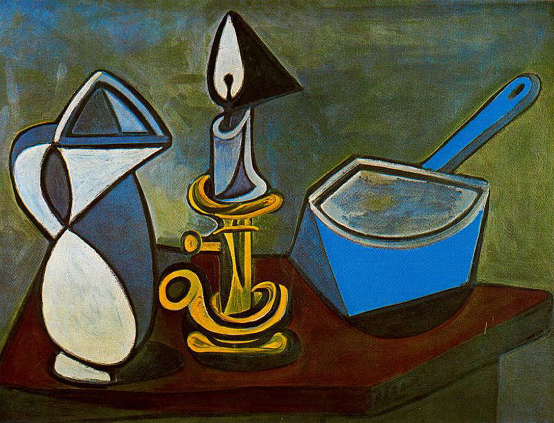 Drawn still life picasso Candle Pablo 1945 Jug pan