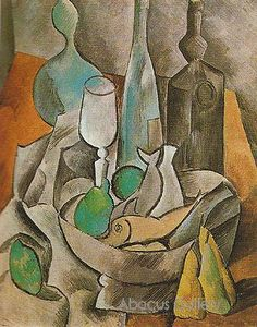 Drawn still life picasso Reproduction play Picasso inspiration 1909