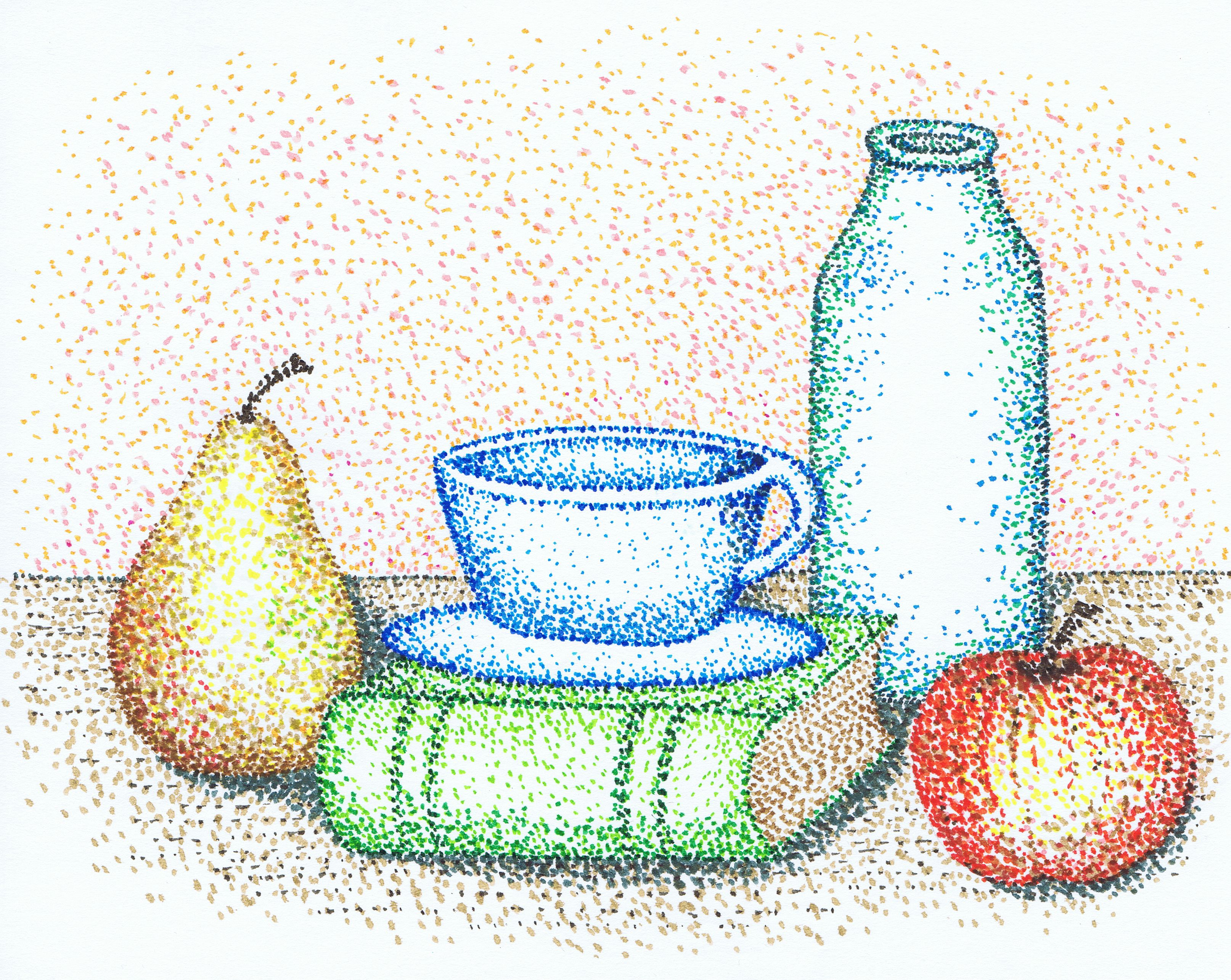 Drawn still life pointillism On Pointillism sketches and Fruit