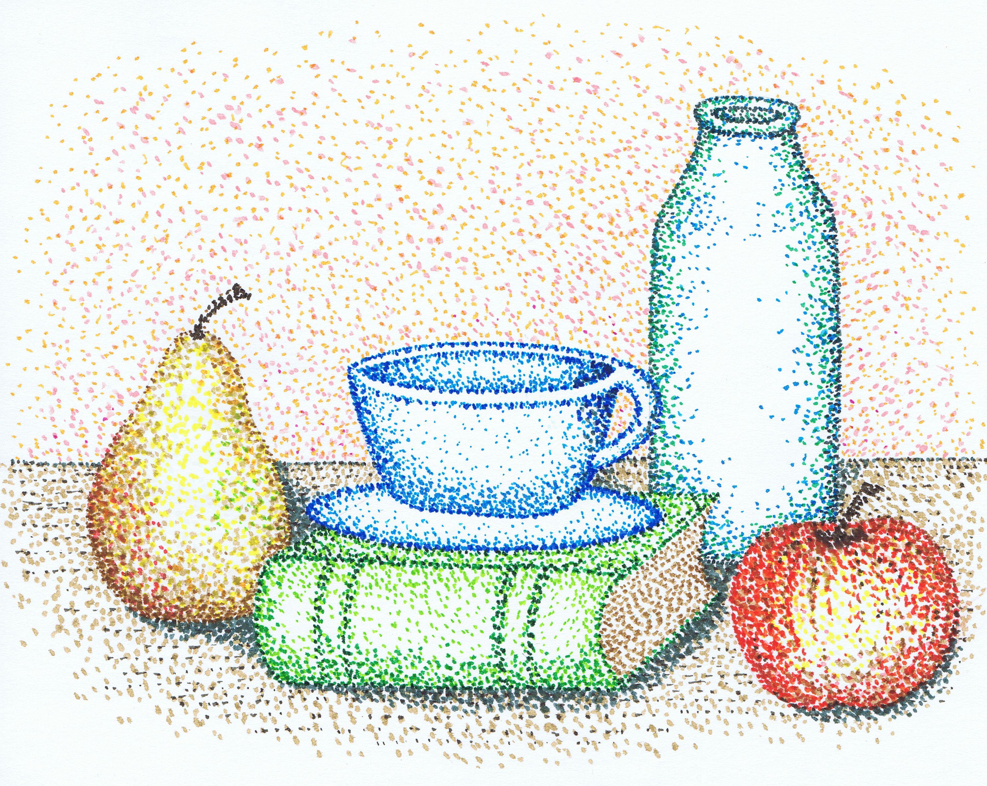 Drawn still life pointillism Sketches more of life Google