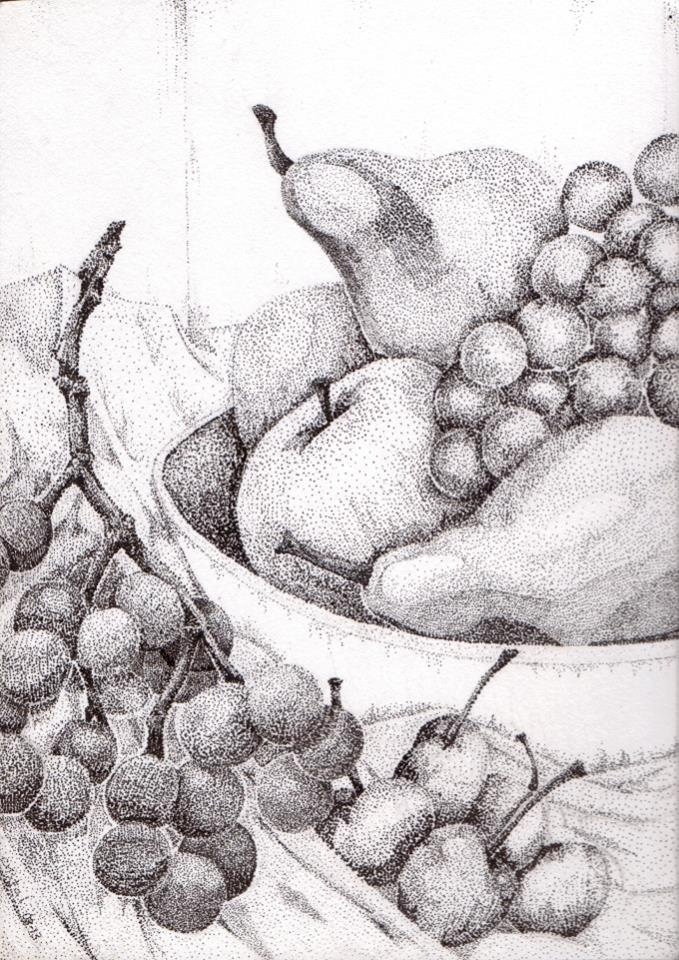 Drawn still life pointillism Network Dibujo Artists2artists Fruit