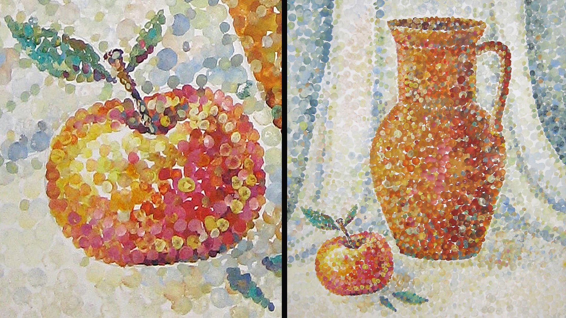 Drawn still life pointillism Technique Gouache Still Life Gouache