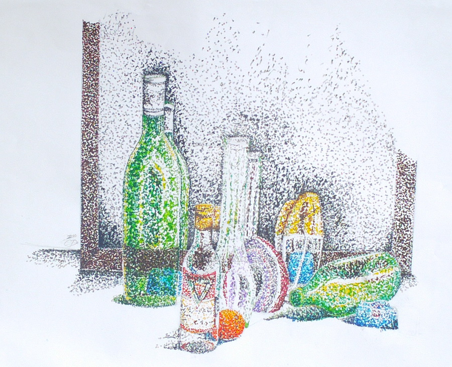 Drawn still life pointillism On Madame DeviantArt Kikue Pointillism