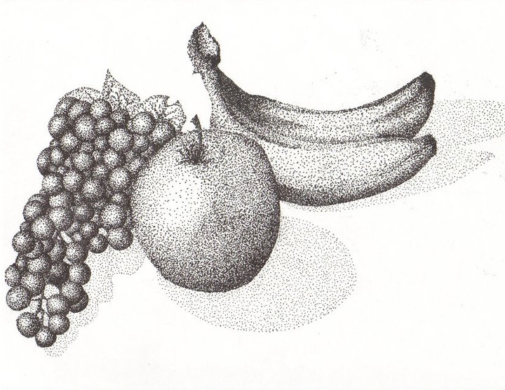 Drawn still life pointillism Starting  just are similar