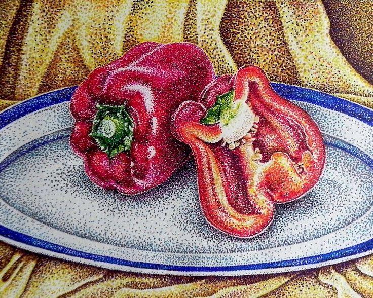 Drawn still life pointillism On Pinterest Pointilism Pointillism 87