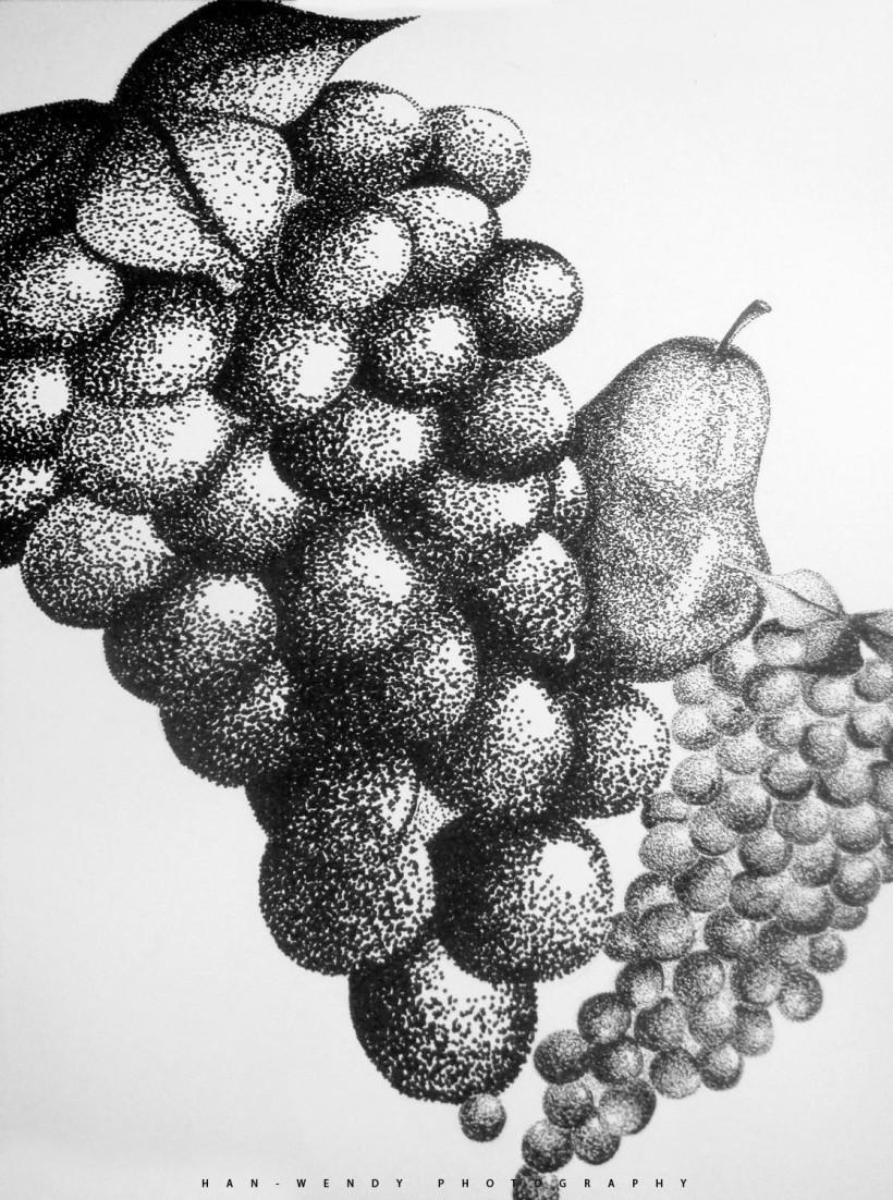 Drawn still life pointillism HANWEN  STILL LIFE POINTILLISM