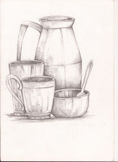 Drawn still life pottery Art know with and Drawing