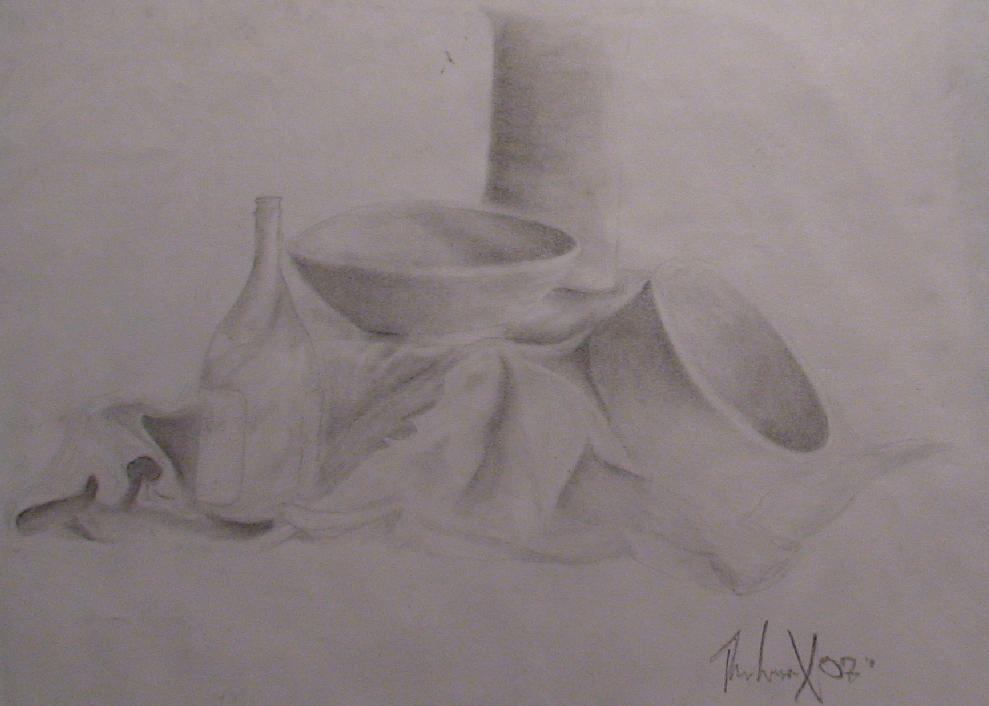 Drawn still life pottery Life th3l0r4x Pottery drawing on