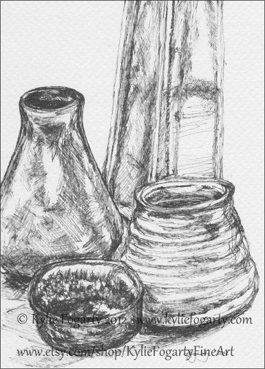 Drawn still life pottery Glass Kylie and Art Art