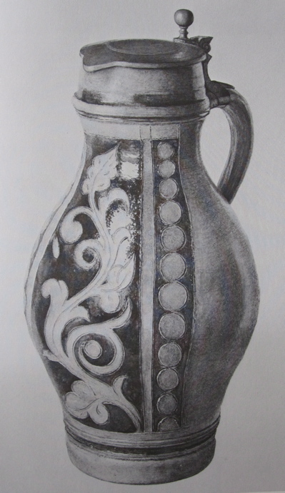 Drawn still life pottery Beer Guilland book The Stoneware