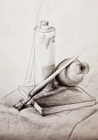 Drawn still life shading Life Pencil Still  kompozısyon