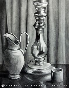 Drawn still life shading Pin on this Glass Water