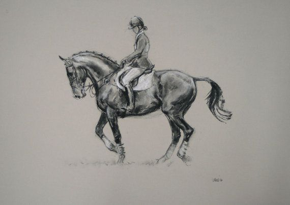 Drawn stone charcoal Irvine horse and art equine