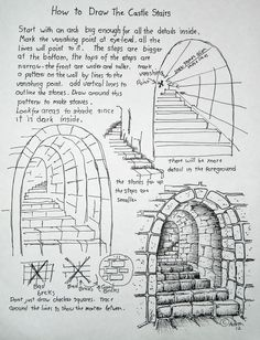 Drawn stairs technical drawing Stone since Young The