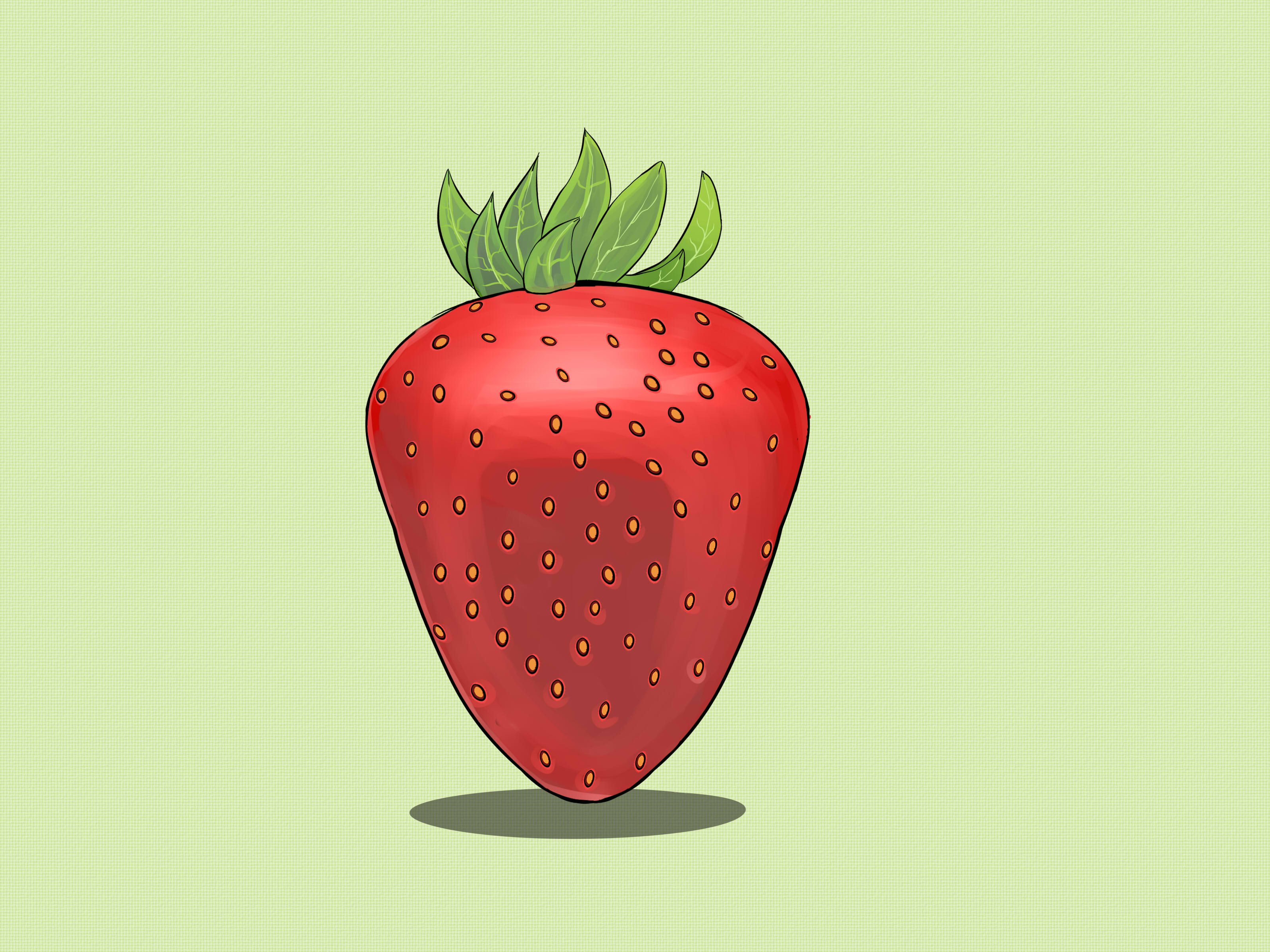 Drawn strawberry strawberry leaf WikiHow Draw (with Steps