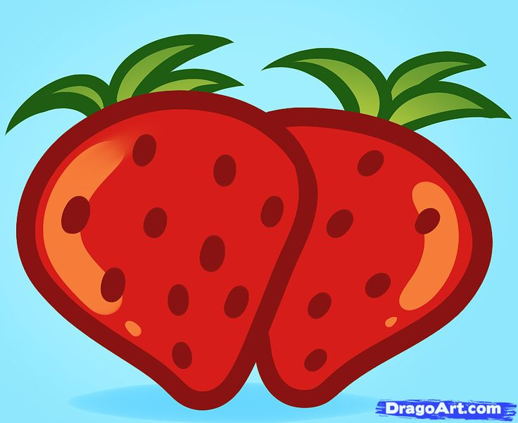 Drawn strawberry realistic Kids Food Strawberries on Art