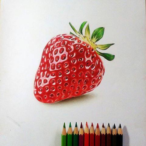 Drawn strawberry color pencil Worx (@jepoy4rt) Jefford using classic