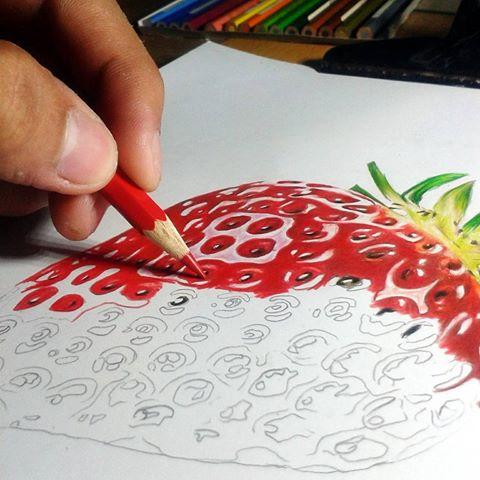 Drawn strawberry color pencil Jefford Instagram Macasasa using classic