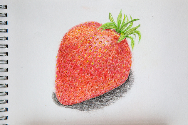 Drawn strawberry color pencil 2 pencils Pictures strawberry drawing
