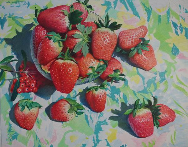 Drawn strawberry color pencil All Art Strawberry (colored 2012