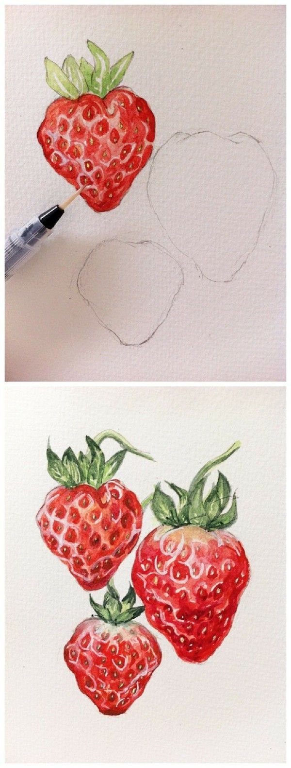 Drawn strawberry color pencil Drawing Pinterest ideas #Fruit strawberry
