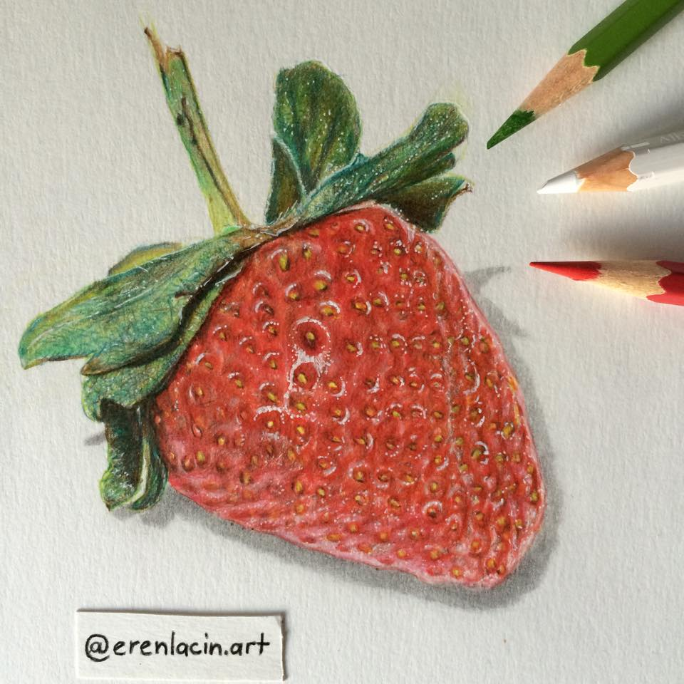 Drawn strawberry color pencil By drawing ErenLACIN Color by