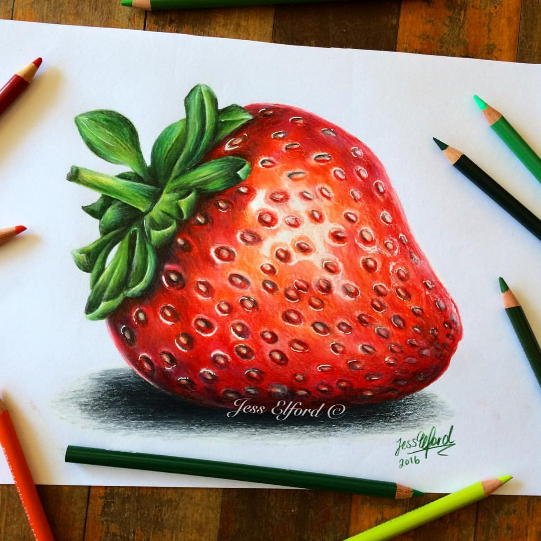 Drawn strawberry realistic Elford pencils by with Elford