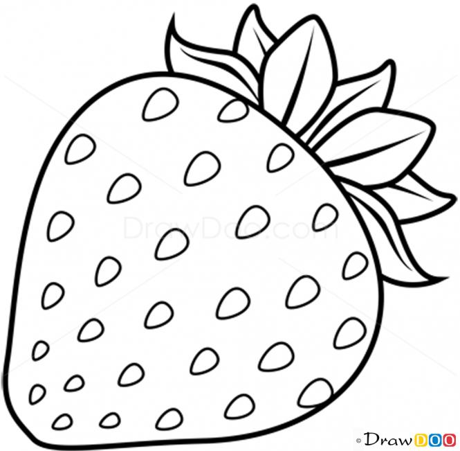 Drawn strawberry strawberry line Draw Fruits to  Strawberry