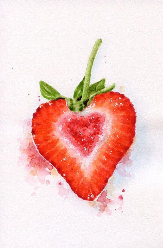 Drawn strawberry watercolor Watercolour Art) on Heart Best