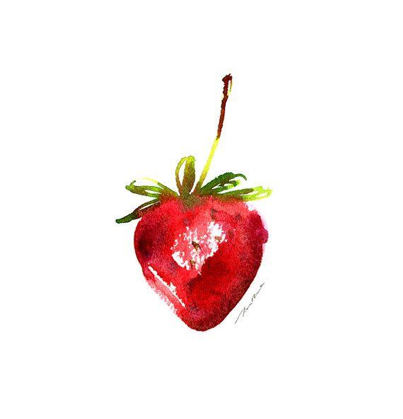 Drawn strawberry watercolor Fruit print 20+ Buy ideas
