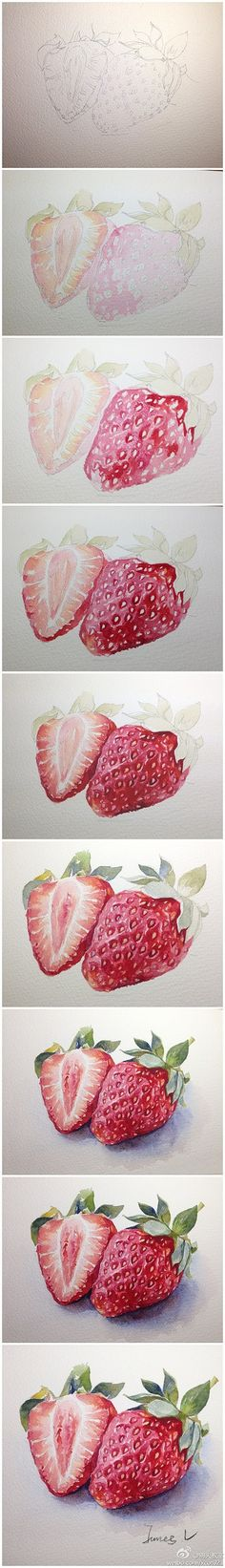 Drawn strawberry watercolor  【绘画教程 Watercolor step Technique