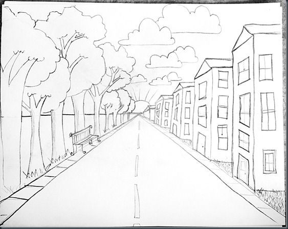 Drawn road one point To perspective one Art One