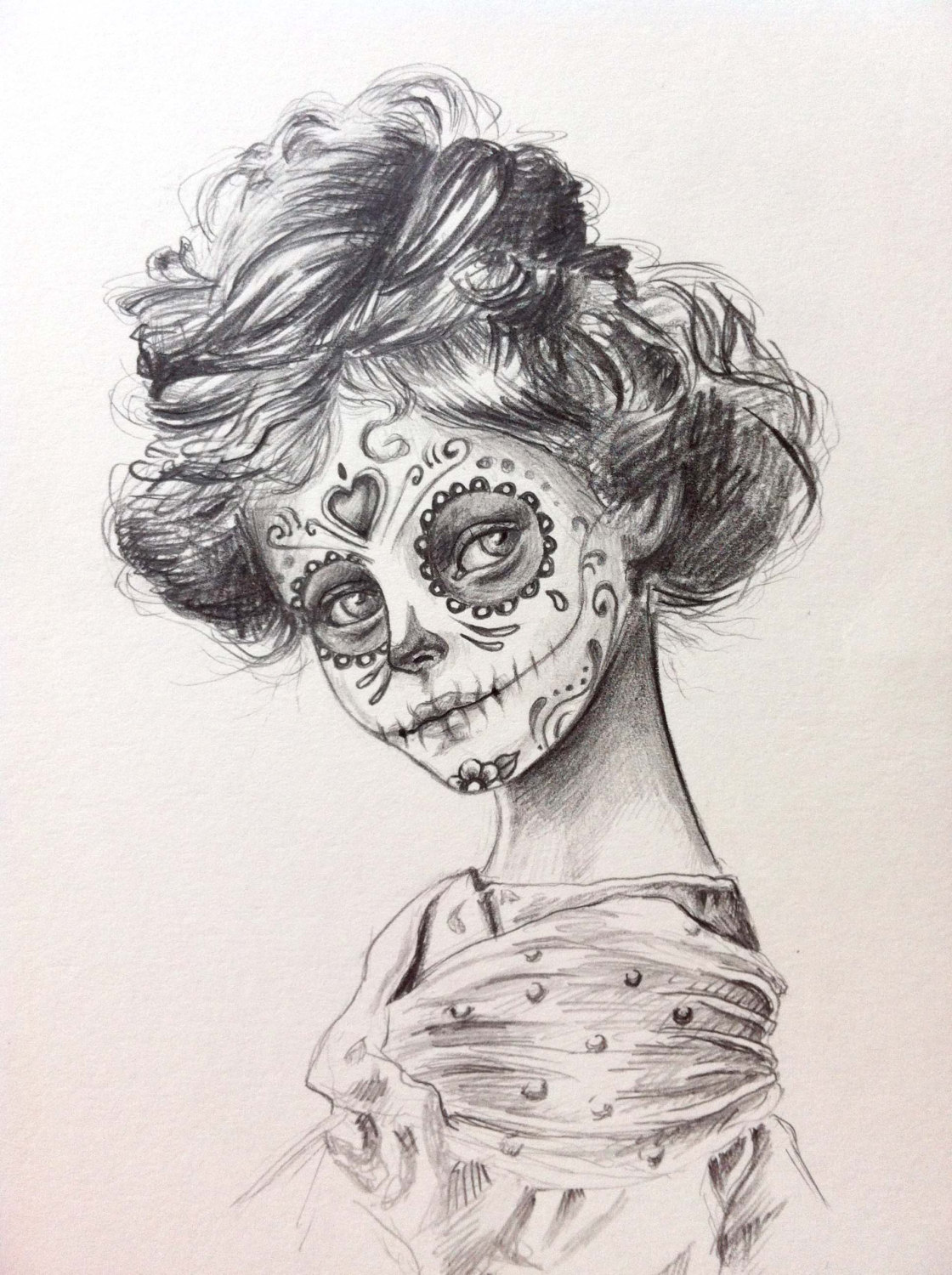 Drawn sugar skull The ₪350 girl dead by