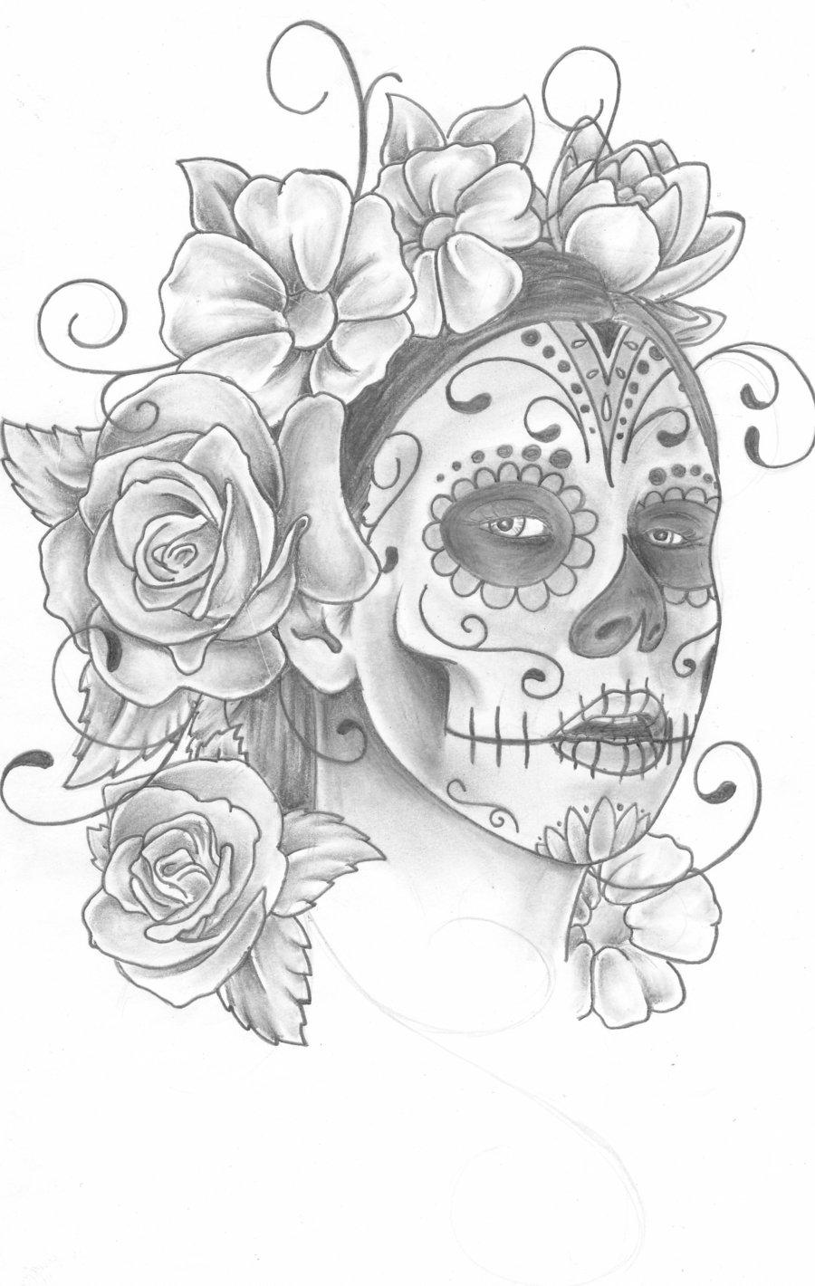 Drawn sugar skull scull Sugar by by  trippkayaris