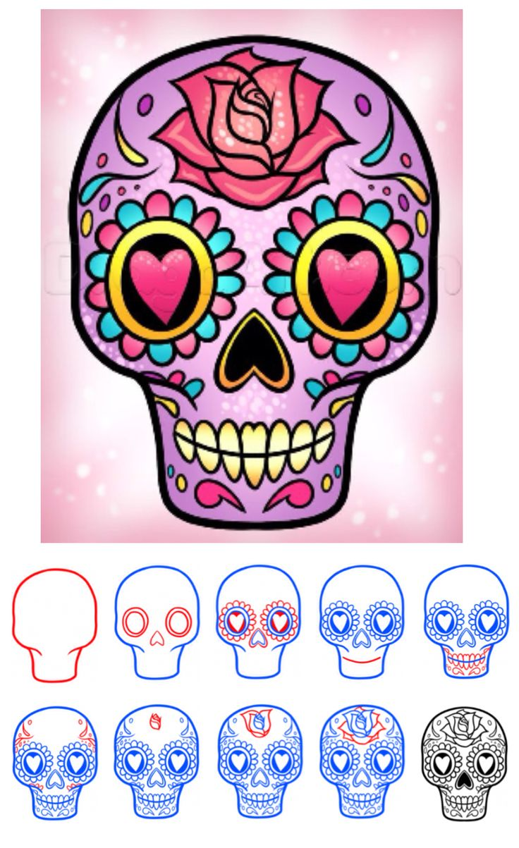 Drawn sugar skull Draw The Easy a (via