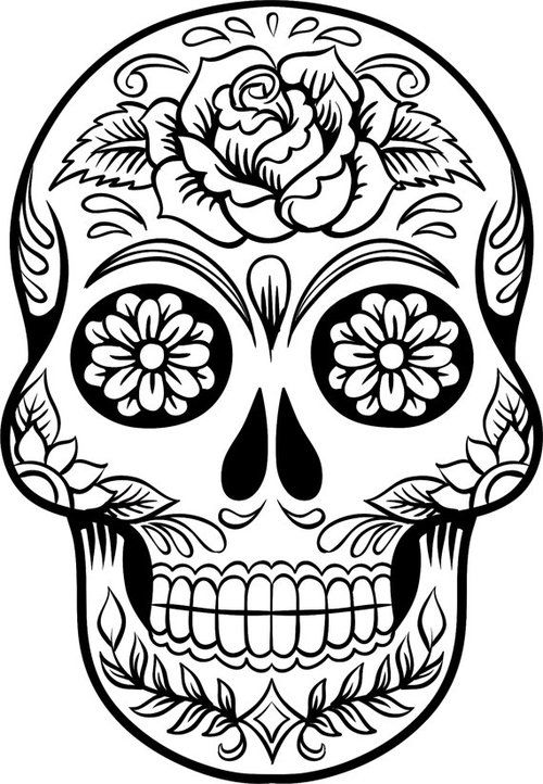 Drawn sugar skull skeleton head Sugar Skull Vinyl Large ideas