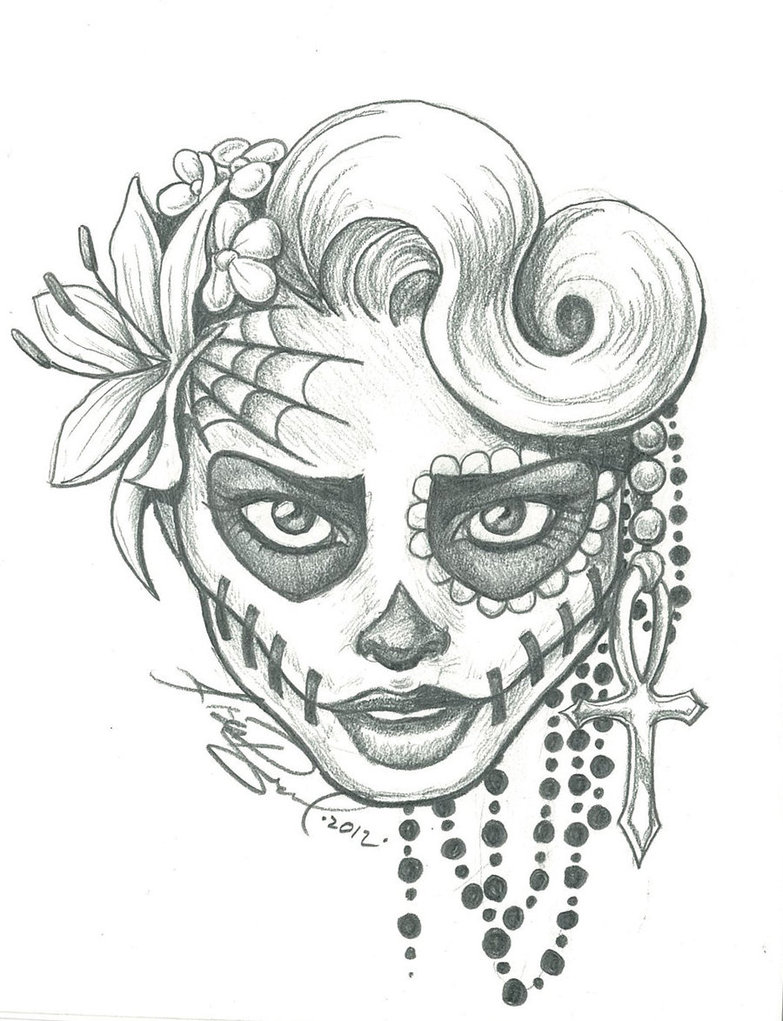 Drawn sugar skull skeleton head Pin drawings and  pages