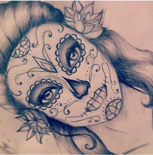 Drawn sugar skull skeleton head Drawing Best drawings skull 25+