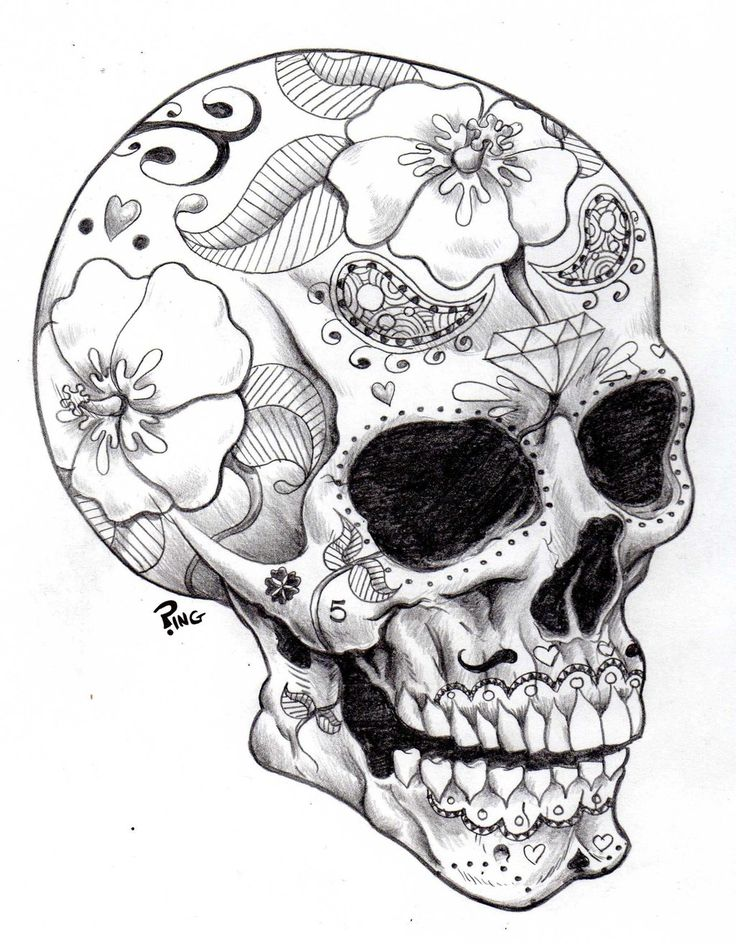 Drawn sugar skull skeleton head Coloring Pages Best Skulls Printable